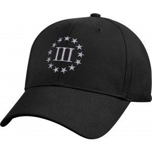 Black Deluxe Three Percenter Insignia 3% Low Profile Baseball Cap