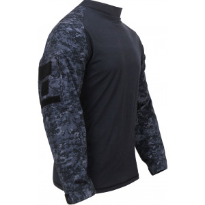 Midnight Digital Camouflage Military Long Sleeve Tactical Combat Shirt
