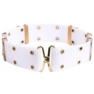 White Military Metal Buckle Utility Pistol Belt