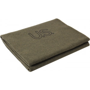 "Olive Drab Genuine GI US Virgin Wool Blanket (62"" x 82"")"