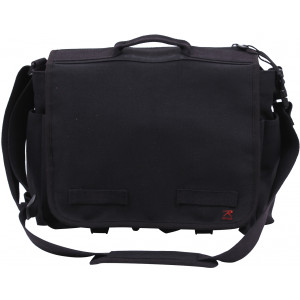 Black Concealed Carry Canvas Messenger Bag