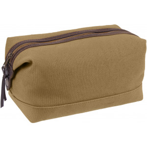 Coyote Brown Canvas & Leather Travel Toiletry Hygiene Kit Dopp Bag
