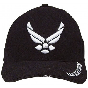 Black Military US Air Force New Wing Deluxe Low Profile Adjustable Cap
