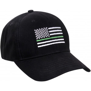 Black Thin Green Line American Flag Support US Federal Agents Low Profile Cap