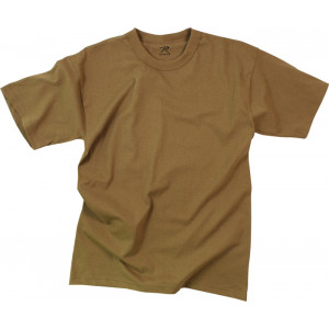 Brown Moisture Wicking Solid Military T-Shirt