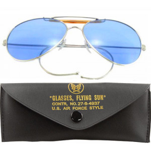 Blue Lenses US Air Force Style Aviators Sunglasses With Case