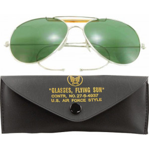 Green Lenses US Air Force Style Aviators Sunglasses With Case