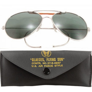 Smoke Lenses US Air Force Style Aviators Sunglasses With Case