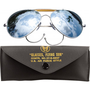 Mirror Lenses US Air Force Style Aviators Sunglasses With Case de0d933eb5e