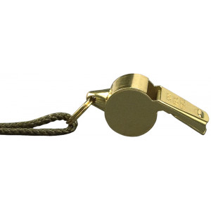 Brass Police Whistle with Lanyard