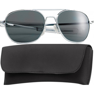 Chrome Military 52mm Pilots Aviator Sunglasses (Smoke Lenses)