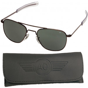 AO Eyewear Black 57mm Genuine Air Force Pilots Sunglasses with Case