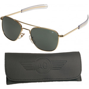 AO Eyewear Gold 57mm Genuine Air Force Pilots Sunglasses with Case