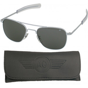AO Eyewear Matte Silver 57mm Gray Lenses Genuine GI Air Force Pilots Sunglasses with Case