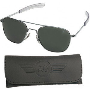 AO Eyewear Silver 52mm Genuine Air Force Pilots Sunglasses with Case