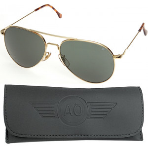 AO Eyewear Gold 58mm US Air Force Pilot Aviators Sunglasses with Wire Spatula Arms