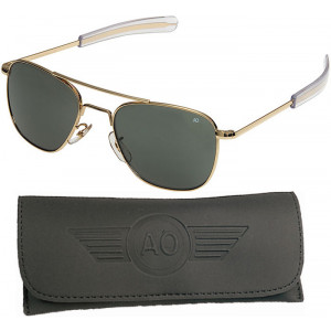 AO Eyewear Gold 55mm Genuine Air Force Pilots Sunglasses with Case