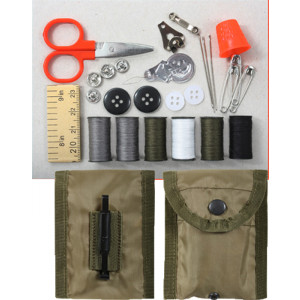 Military Sewing Repair Kit in Olive Drab Compass Pouch