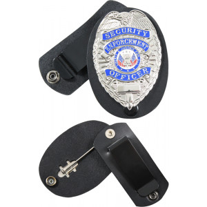 Black Leather Clip-On Badge Holder With Swivel Snap
