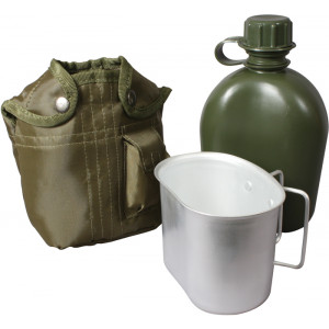 Olive Drab Plastic Canteen With Cover And Aluminum Canteen Cup