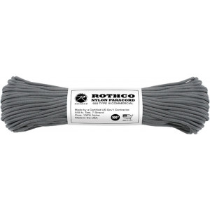 Charcoal Grey 550LB Type III Nylon Paracord Rope 100'