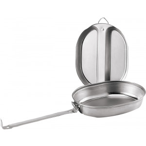 Stainless Steel Mess Kit Cookware 2 Piece Set - Fry Pan & Cover