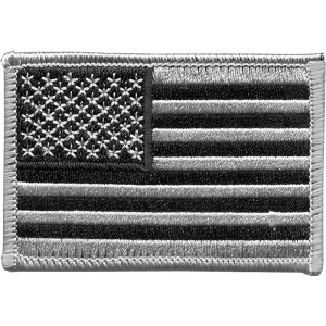 Silver & Black Embroidered US Flag Patch