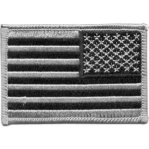 Silver & Black REVERSE Embroidered US Flag Patch