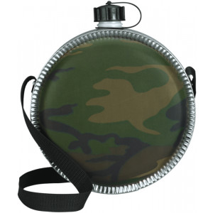 Woodland Camouflage Large Desert Canteen with Strap 64oz