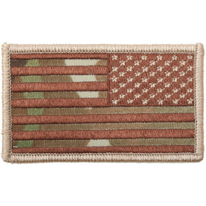 "Multi Cam Reverse US American Hook Flag Patch 1 7/8"" x 3 3/8"""