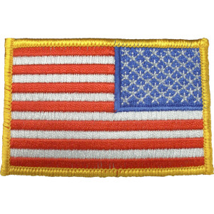 Red White Blue/Gold Border Embroidered REVERSE US Flag Patch