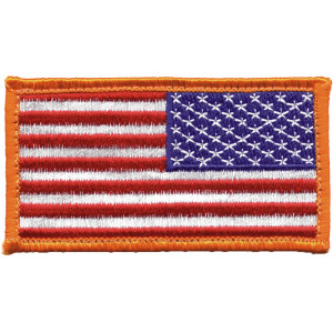 """Red White Blue Reverse American US Flag Hook Patch 1 7/8"""" x 3 3/8"""""""