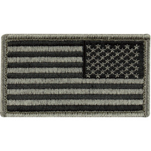 "Foliage Green Reverse American US Flag Hook Patch 1 7/8"" x 3 3/8"""