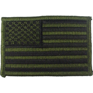 "Olive Drab Subdued Embroidered US Flag Patch 2"" x 3"""