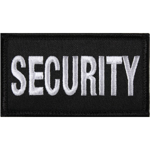 """Black & White Security Hook Patch 1 7/8"""" x 3 3/4"""""""