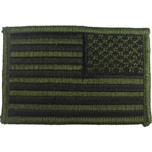 """Olive Drab Subdued Embroidered REVERSE US Flag Patch 2"""" x 3"""""""