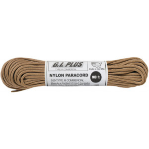 Tan 550LB Type III Nylon Paracord Rope 100'
