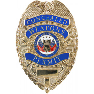 Gold Deluxe Concealed Weapons Permit Law Enforcement Badge