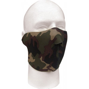Woodland Camouflage / Black Reversible Stretch Half Face Mask