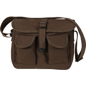Earth Brown Canvas Military Ammo Shoulder Bag