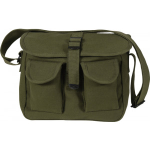 Olive Drab Canvas Military Ammo Shoulder Bag