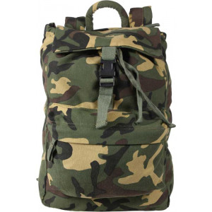 Woodland Camouflage Military Heavyweight Canvas Day Pack Backpack