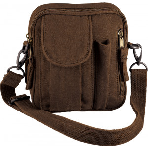 Earth Brown Canvas Venturer Excursion Organizer Shoulder Bag