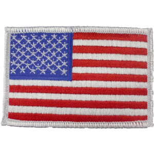 Red White Blue Embroidered US Flag Patch White Border