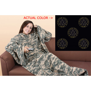 Black Army Fleece Couch Blanket With Arms