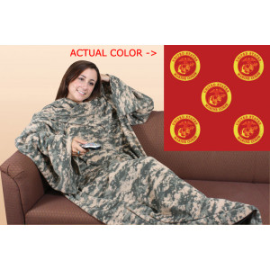 Red USMC Fleece Couch Blanket With Arms