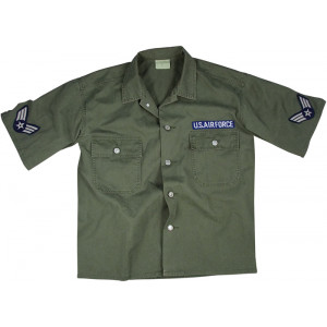 Olive Drab Vintage Army Air Force Military BDU Shirt
