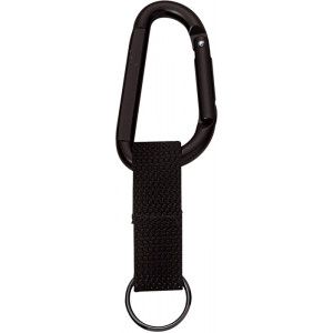 Black Jumbo 80MM Carabiner With Web Strap Key Ring