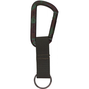 Woodland Camouflage Jumbo 80MM Carabiner With Web Strap Key Ring