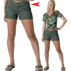 Olive Drab Women's Cotton Mini Shorts